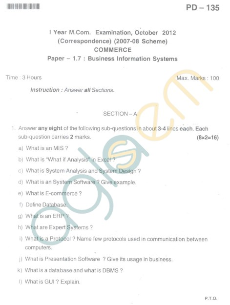 Bangalore University Question Paper Oct 2012I Year M.Com. - Commerce Business Information System