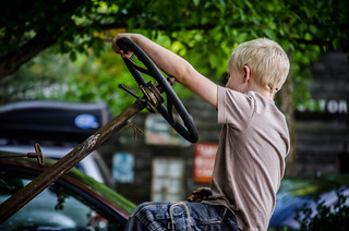 Joshua on the tractor