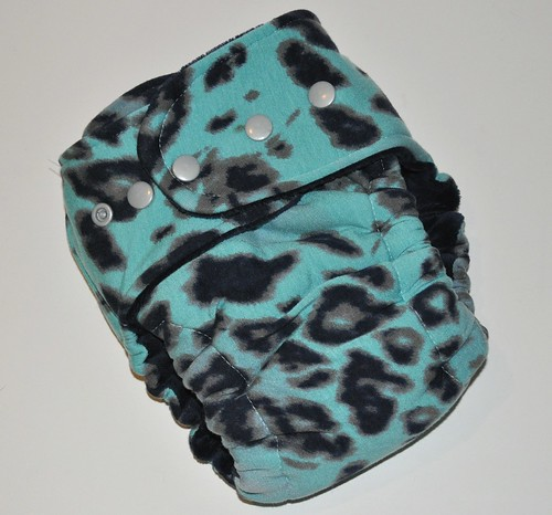 Bumstoppers One Size Hybrid Fitted  Aqua Cheetah {Limited Edition}  Snap down or  Fold over Rise