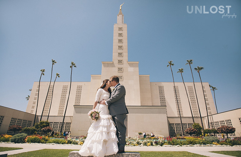 Wedding Portraits at the Los Angeles, CA LDS Temple