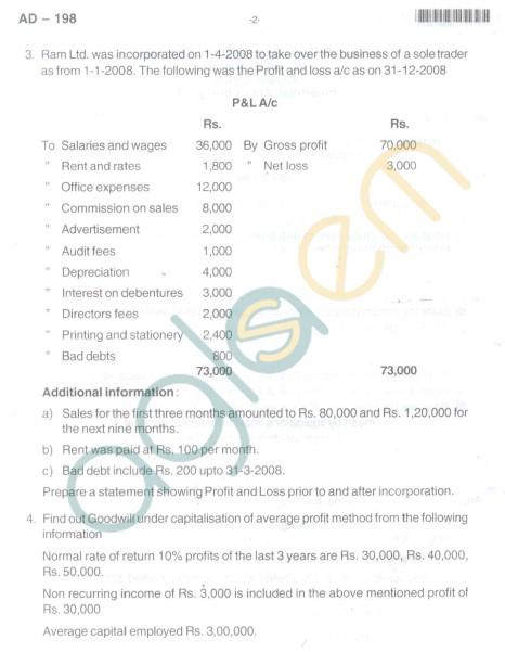 Bangalore University Question Paper Oct 2012:II Year B.Com. - Financial Accounting