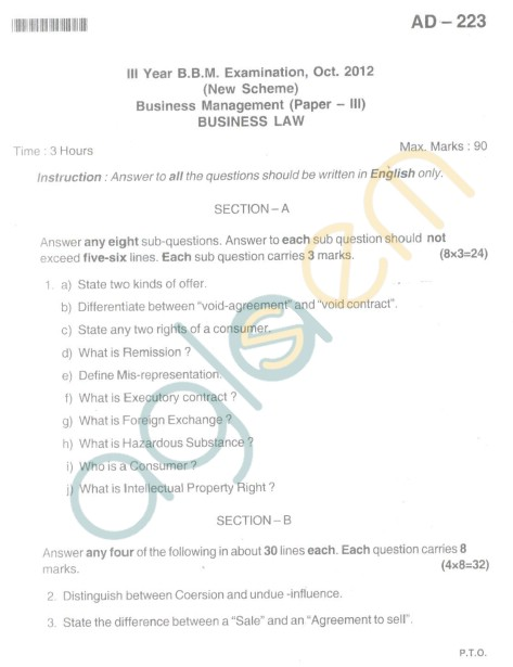 Bangalore University Question Paper Oct 2012III Year BBM - Business Management Paper III Business Law