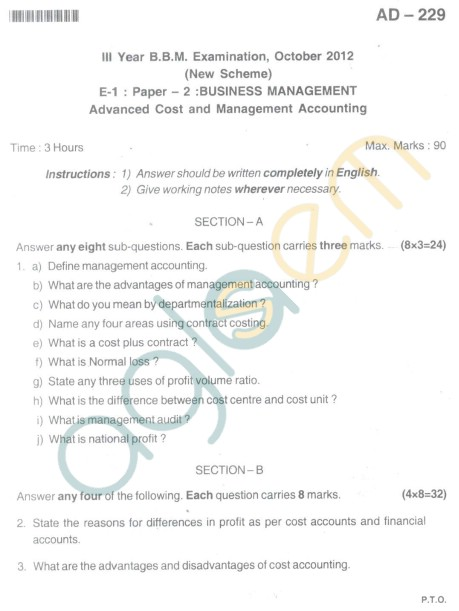 Bangalore University Question Paper Oct 2012 III Year BBM - Business Management Advanced Cost And Management System