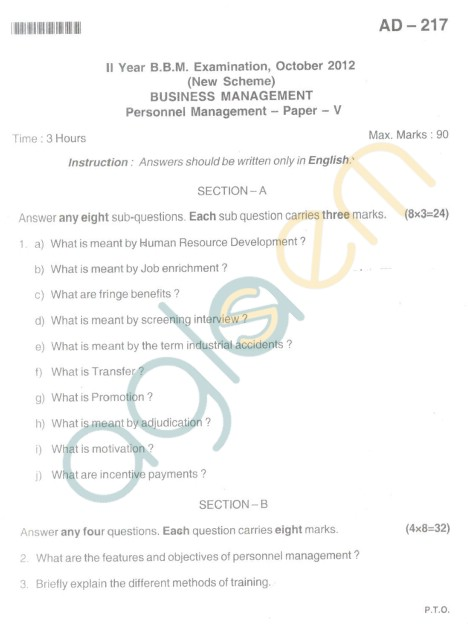 Bangalore University Question Paper Oct 2012 II Year BBM - Business Management Personnel Management (Paper V)