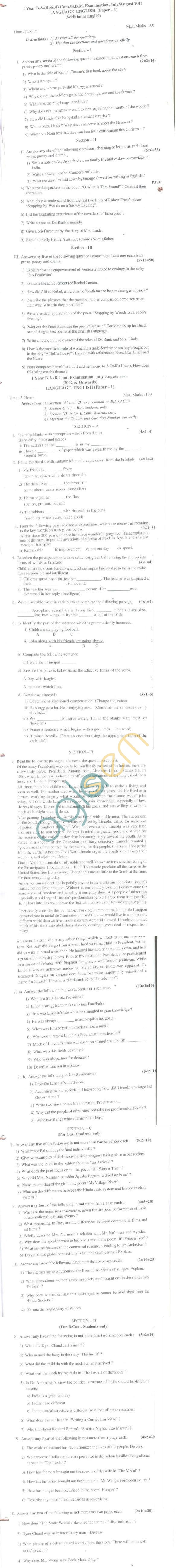 Bangalore University Question Paper July/August 2011 I Year B.A./B.Com./B.Sc./B.Com./BBM Examination - English