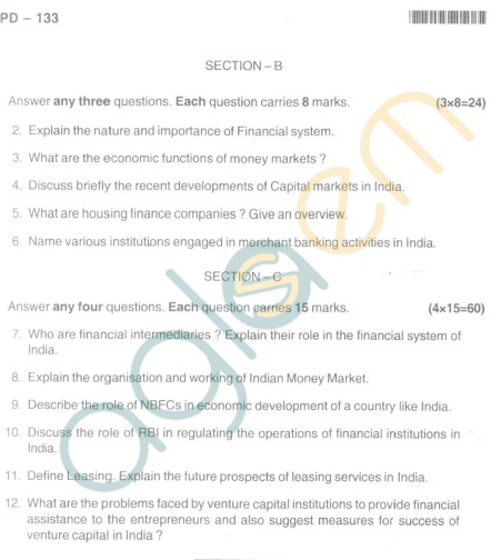 Bangalore University Question Paper Oct 2012I Year M.Com. - Commerce Paper - 1.5 : Indian Financial Systems