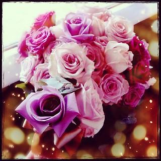 applauseと大好きな薄紫色をメインにしたバラのブーケ。めっちゃ好みの色合いで素敵だった♪
