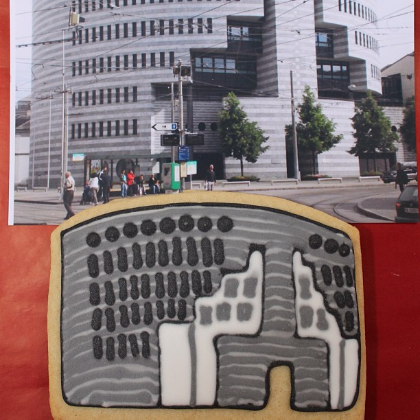 The Bank for International Settlements (Botta Building), Basel, as a biscuit