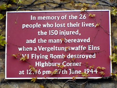 Photo of flying bomb (V1/V2) maroon plaque
