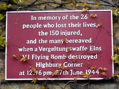 Photo of flying bomb (V1/V2) maroon plaque