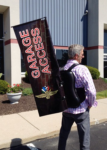 Indianapolis Motor Speedway Garage Access Backpack Banners by Redirections Sign & Design