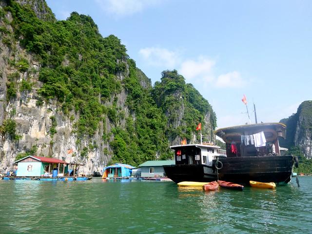 A floating village in Halong Bay, Vietnam
