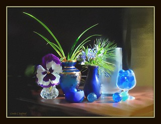 Blue still life  w pansy - watercolor