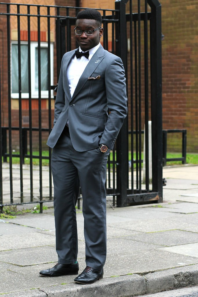 Gray Suit With Black Bow Tie Black Bow Tie