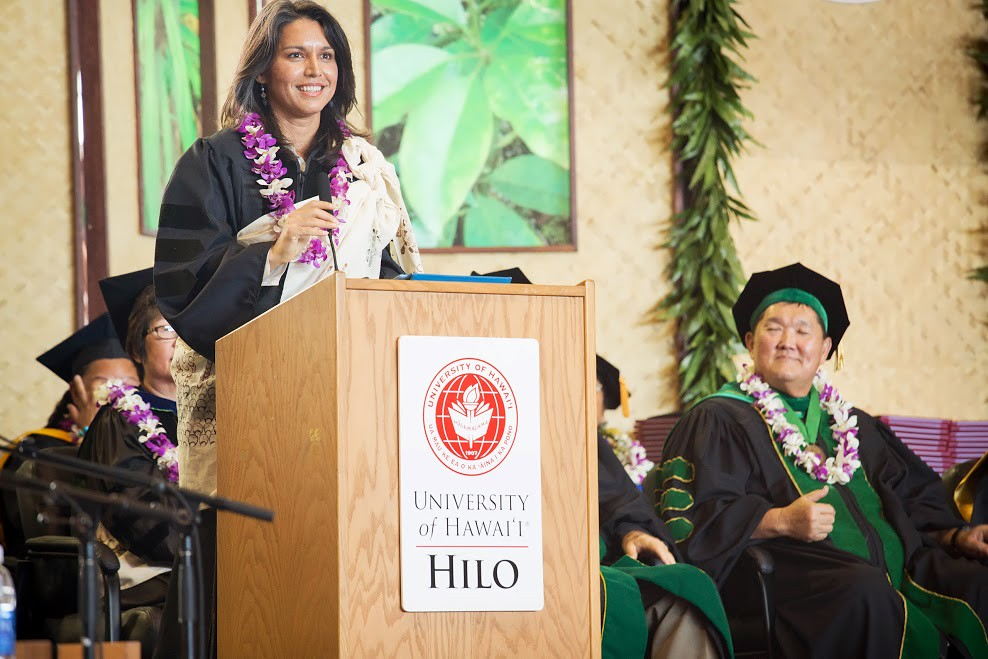 """<p>UH Hilo's commencement keynote speaker U.S. Congresswoman Tulsi Gabbard. May 11, 2013<br /> <br /> See more UH Hilo photos at the <a href=""""https://www.facebook.com/media/set/?set=a.552007111508195.1073741829.133876433321267&type=3"""" rel=""""nofollow"""">University of Hawaii at Hilo Alumni and  Friends Facebook page.</a></p>"""