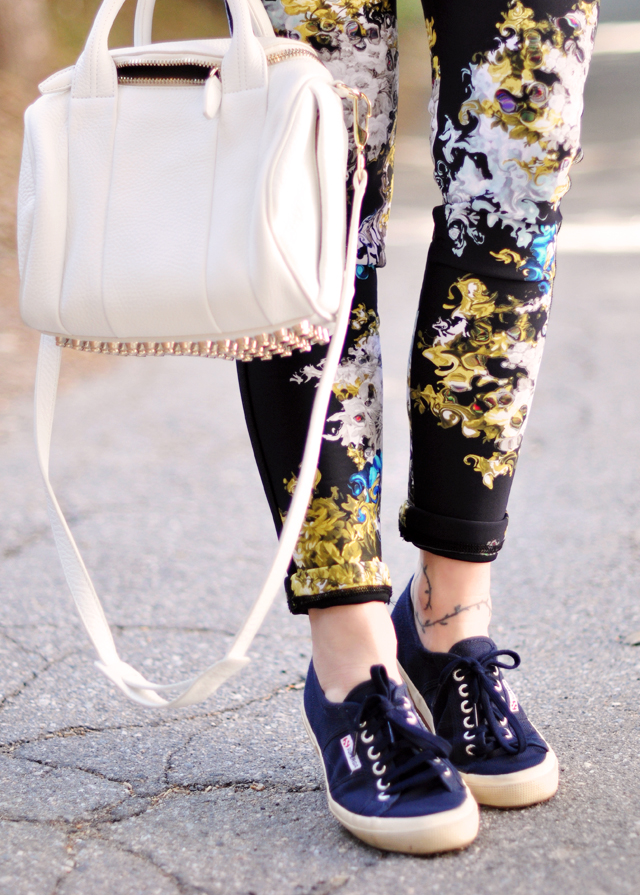 alexander wang bag- floral wet suit pants-superga