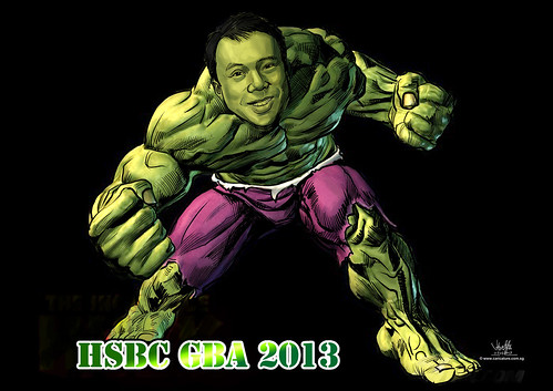 digital Incredible Hulk caricature for HSBC - A4