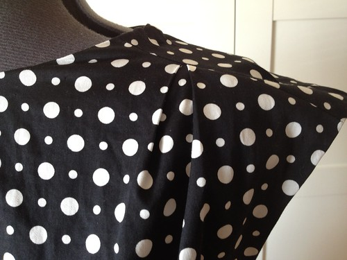 polka dot W3 dress shoulder detail