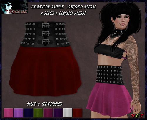 *P* MESH Studded Leather Skirt ~Colors HUD~