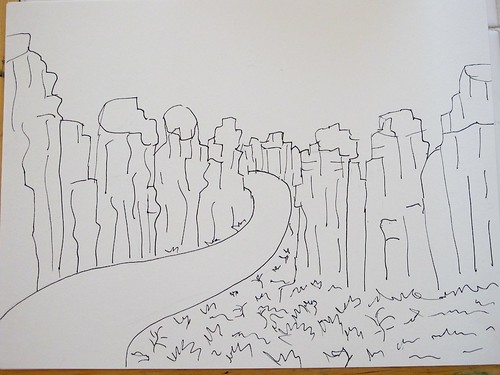 First line drawing of Smith Rock