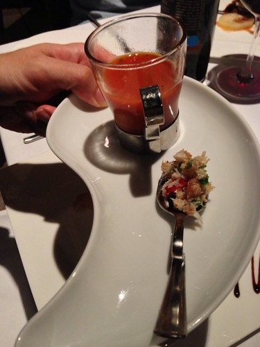 Zuppa - Pomodoro: Tuscany-style Tomato Soup with King Crab, Vincotto Wine Sauce & Basil Foam (tasting portion)