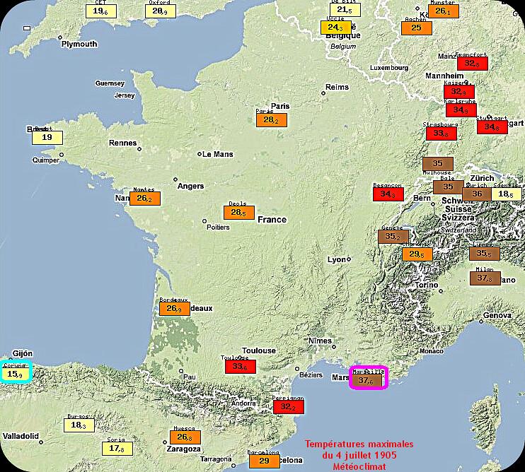 températures maximales, très fortes chaleurs et contraste thermique du 4 juillet 1905 météopassion
