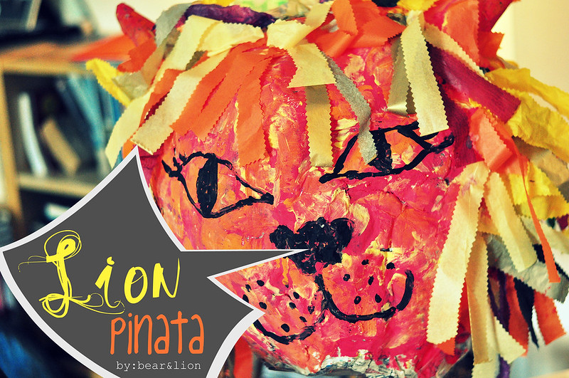 pinata, birthday craft, lion head