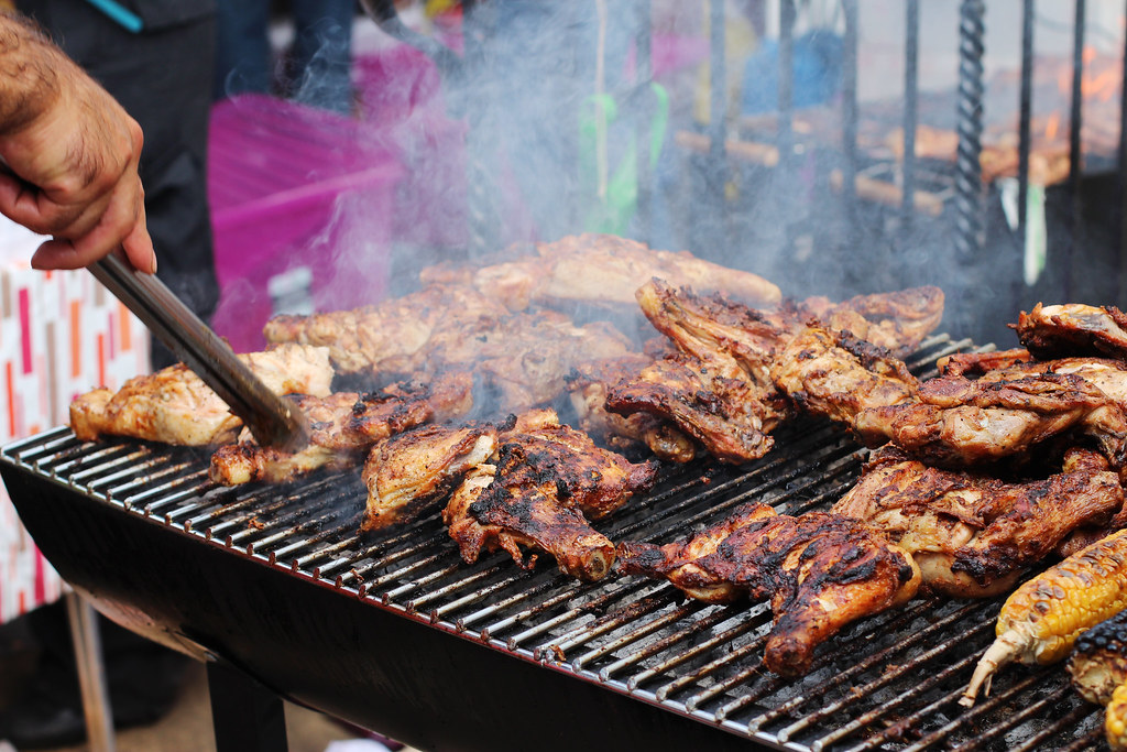 carnival food, jerk chicken, london