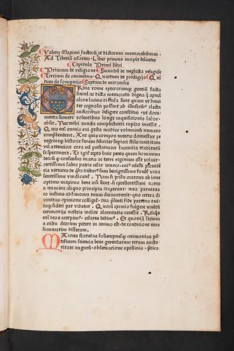 Decorated page incorporating coat of arms in Valerius Maximus, Gaius: Facta et dicta memorabilia