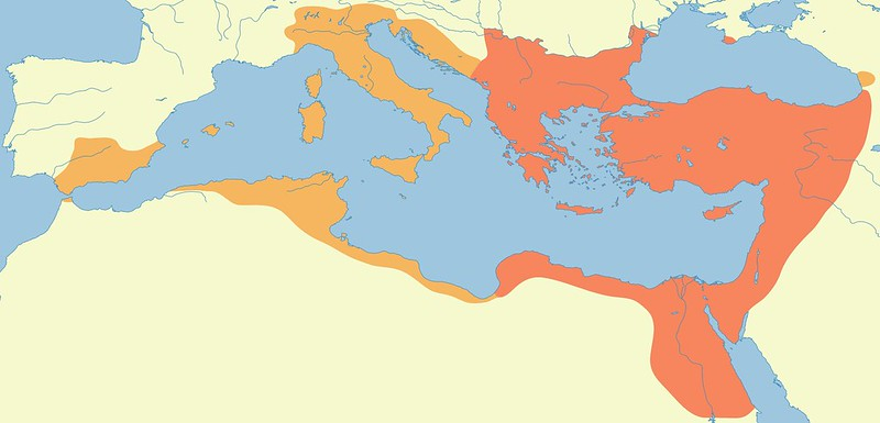 The enlargement of the Byzantine Empire after Belisarius's conquests
