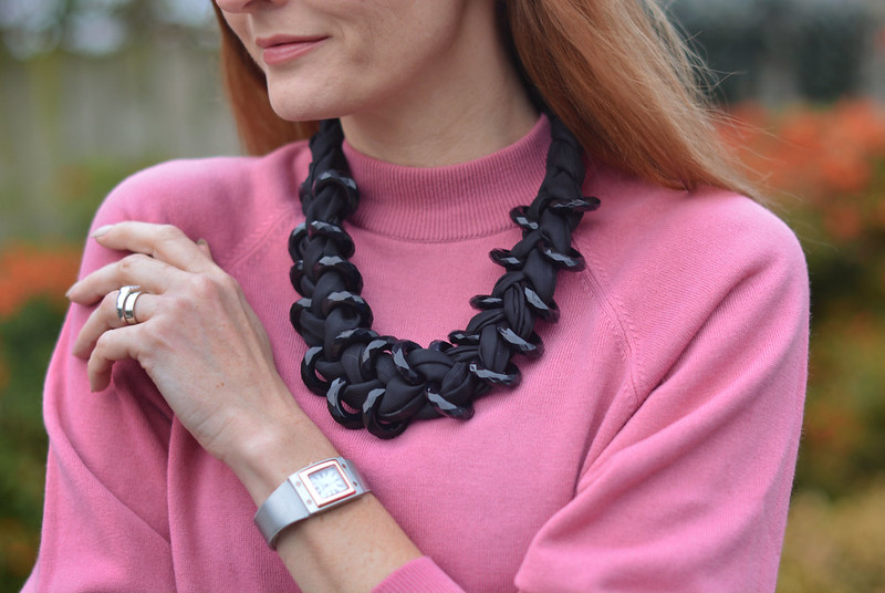 Soft pink, black chunky necklace