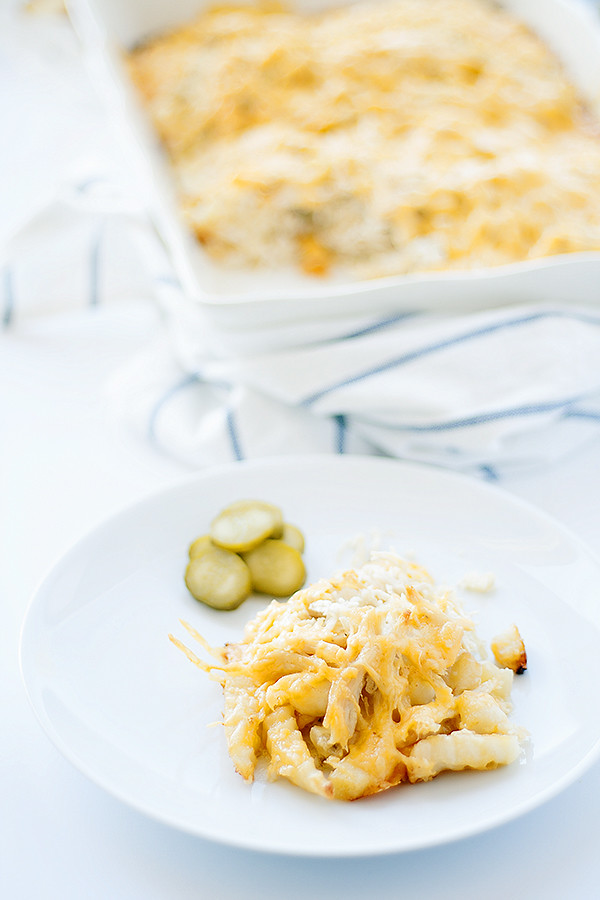 cheesy french fry casserole with chicken @AlexiaFoods #farmtoflavor