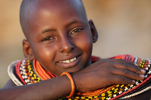 Kenya, smiling Samburu girl