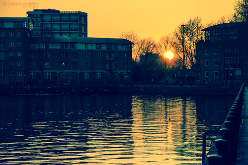sunset reflection london silhouette 365 canadawater surreyquays project365 365days greenlanddocks 365project julianalauletta