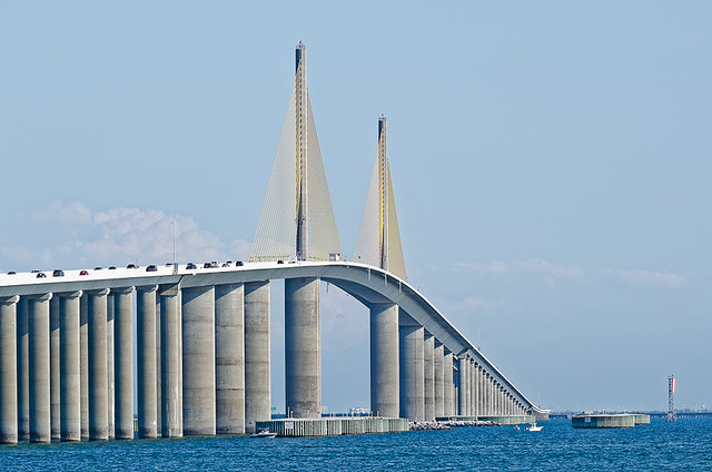 Watch family dollar truck go up the sunshine skyway bridge for Tides 4 fishing skyway