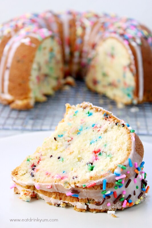 "This ""from-scratch"" Funfetti Pound Cake is a wonderful dessert any time! Everyone knows that life is better with sprinkles!"