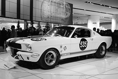 first generation ford mustang(0.0), antique car(0.0), convertible(0.0), race car(1.0), automobile(1.0), automotive exterior(1.0), vehicle(1.0), automotive design(1.0), shelby mustang(1.0), land vehicle(1.0), monochrome(1.0), muscle car(1.0), sports car(1.0), motor vehicle(1.0),