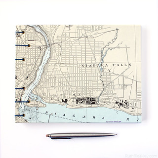Niagra Falls nautical chart guestbook - front cover handmade by bookbinder Ruth Bleakley