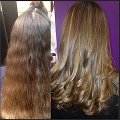 Before and after Laura, Level 1 designer.  Open 7 days a week.   #focussalon #springhill #Beautifulguests #blowout