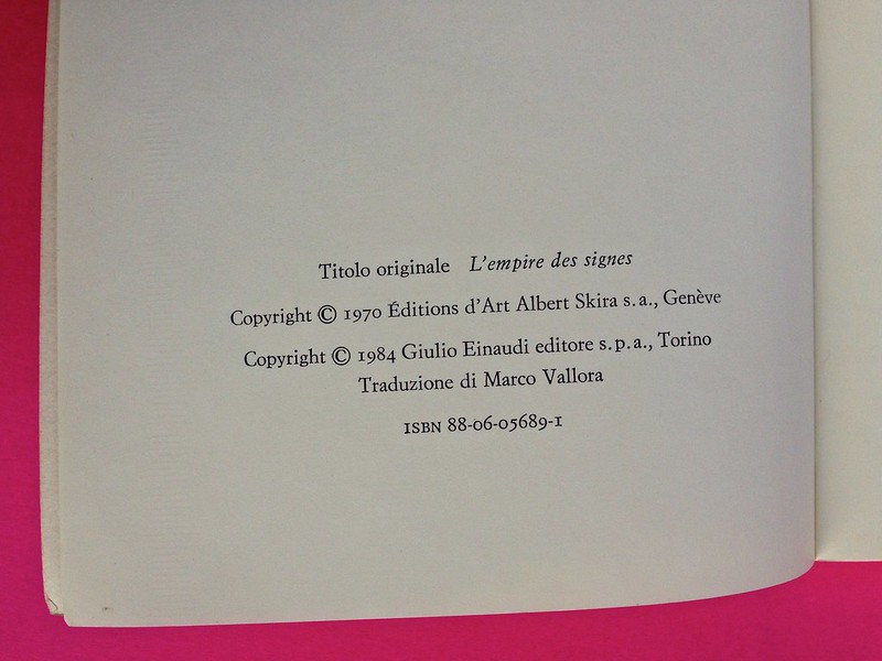Roland Barthes, L'impero dei segni. Einaudi 1984. Colophon, al verso della carta di guardia anteriore (part.), 1