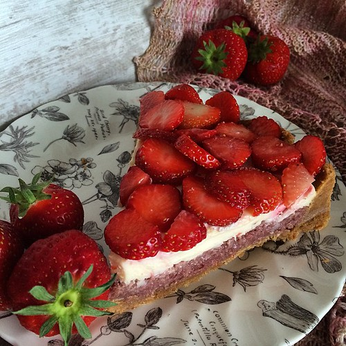 And the money shot from the setup shown in the previous photo... Strawberry Mascarpone Tart from #BakeKnitSew