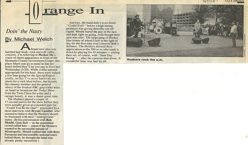 05/20/87 HUsker Du @ Today Show Broadcast, Minneapolis, MN (City Pages - 05/27/87)