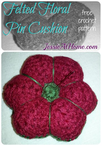 Felted Floral Pin Cushion ~ Free Crochet Pattern by Jessie At Home