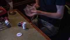 Xander shuffling for the next poker deal