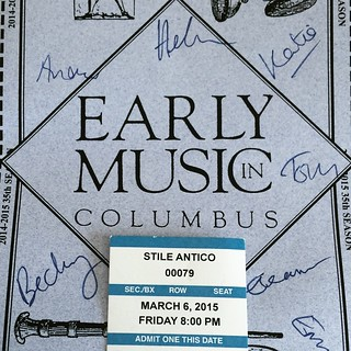 Cover of the Early Music Columbus program with several names signed.