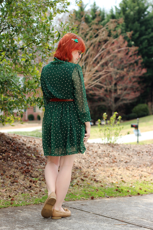 Sheer Sleeved Green Polka Dot Dress, Red Hair, and Shamrock Hair Clip