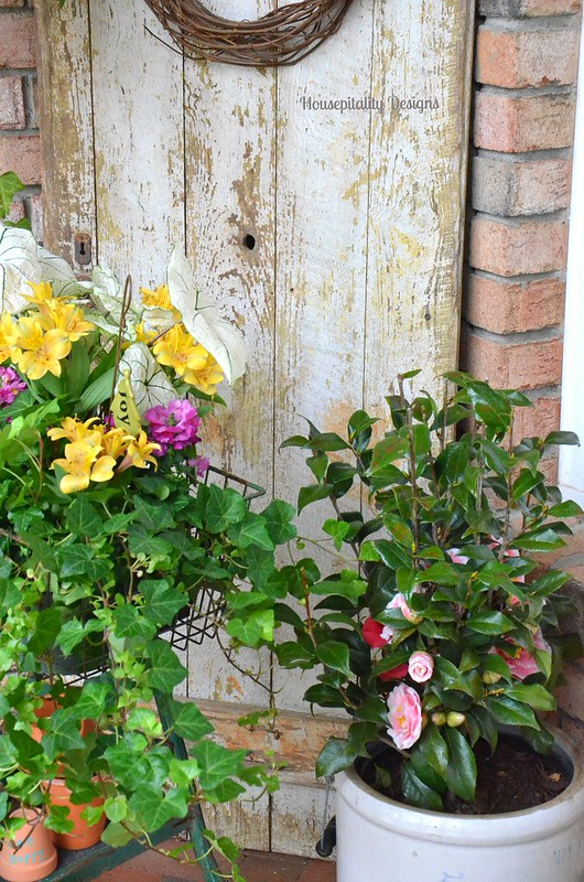 Front Porch flowers/Vintage Door-Housepitality Designs