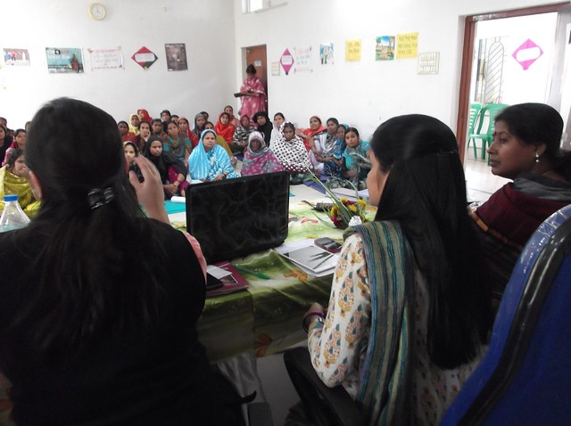 Rahima Khatun, Ms Neera Kohli and Ms Manasi at Zari Embroidery Training programme of NOSKK.