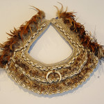 Vicki Kinai, Perserverance and Endurance against odds, twisted fibre from Tapa, shells, bird and Emu feathers
