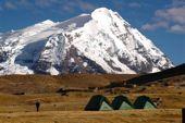 Peru Trekking Cordillera Vilcanota. Lagerplatz in der Vilcanota mit grandioser Aussicht. Foto: Günter Hane.